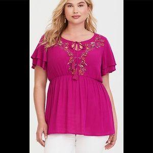 Torrid Rose Pink Embroidered Top